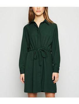 Petite Dark Green Drawstring Shirt Dress by New Look