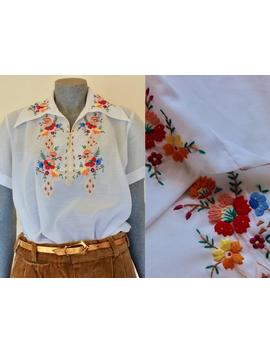 Hand Embroidered Vintage Top, White Womens Shirt, Small Womens, 70s, 1970s, White Summer Top, Size Us 6, Aus/Nz 10, Short Sleeve* by Etsy