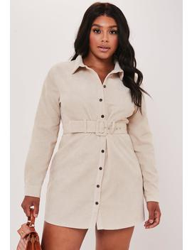 Plus Size Stone Belted Cord Shirt Dress by Missguided