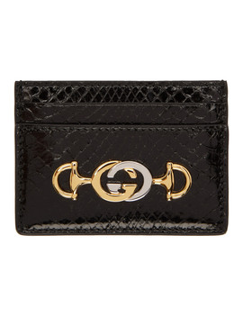 Black Python Linea Borghese Card Holder by Gucci