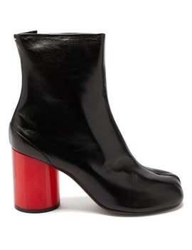 Tabi Split Toe Holographic Heel Leather Boots by Maison Margiela