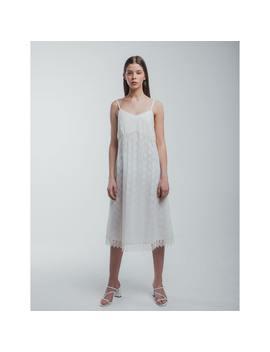 White Cotton Lace Midi Dress by Muza