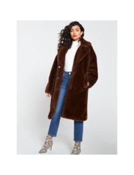 Long Faux Fur Coat   Toffee by V By Very