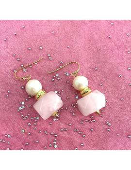Round Freshwater Pearl With Faceted Rose Quartz Drop Earrings by Farra