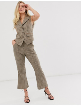Neon Rose Fitted Waistcoat In Check by Neon Rose