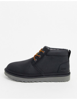 Ugg Neumel Utility Lace Up Short Boots In Black Leather by Ugg