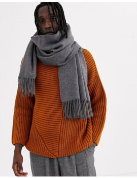 Asos White 100 Percents Wool Blanket Scarf In Gray by Asos White