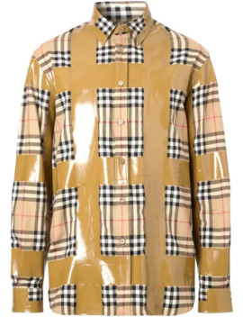 Tape Detail Vintage Check Oversized Shirt by Burberry