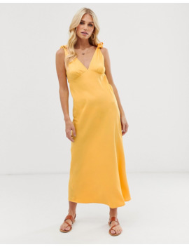 Vero Moda Tie Shoulder V Neck Midi Dress In Yellow by Vero Moda