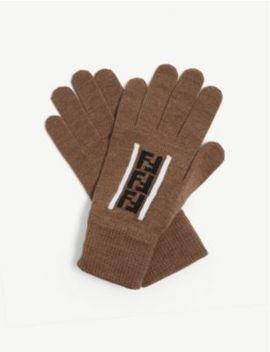 Ff Logo Wool Gloves by Fendi
