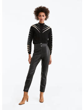 Skórzane Spodnie Z Pikowanym Pasem by Uterqüe