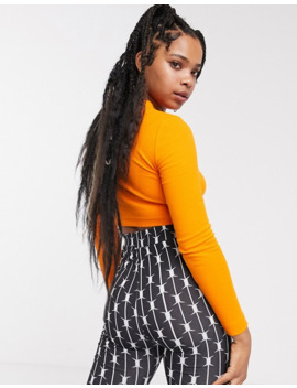 Collusion Rib Long Sleeve Crop Top In Orange by Collusion