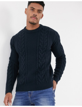 Topman Cable Knit Jumper In Navy by Topman
