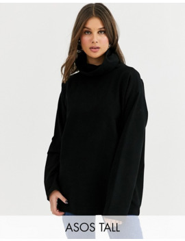 Asos Design Tall High Neck Cozy Oversized Sweat In Black by Asos Design