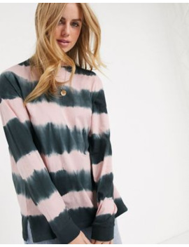 Asos Design Oversized Long Sleeve T Shirt In Tie Dye Stripe by Asos Design