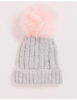 Aldo Dendan Ribbed Knit Beanie With Faux Fur Pom Pom And Rolled Cuff by Aldo