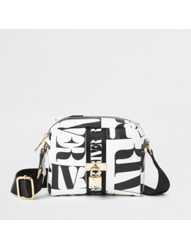 Girls Black Ri Mono Print Cross Body Bag by River Island