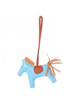 Hermes Milo Lambskin Grigri Rodeo Horse Bag Charm Mm Celeste Naturel Bouton D'or Cornaline by Hermes