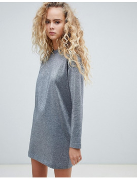 Weekday Glitter Sweater Dress In Silver by Weekday
