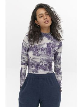 Uo Second Skin Toile De Jouy Top by Urban Outfitters