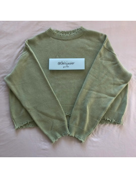 Bare Knuckles Pale Green Cropped Cashmere Wool Sweater by Jacob Keller  ×  Bare Knuckles  ×