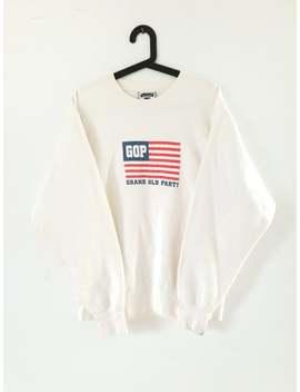 Vintage Pullover Creme Weiß / 90s College Sweatshirt Oversize / Sweater Rundhals / Größe X Large by Etsy