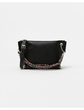 M Black Leather Trapezium Crossbody Bag by Bimba Y Lola