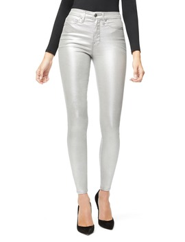 Good Waist Metallic High Waist Skinny Jeans by Good American