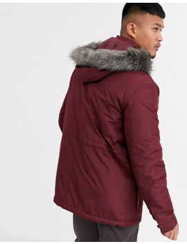 Asos Design Hooded Parka With Detachable Faux Fur Trim In Burgundy by Asos Design