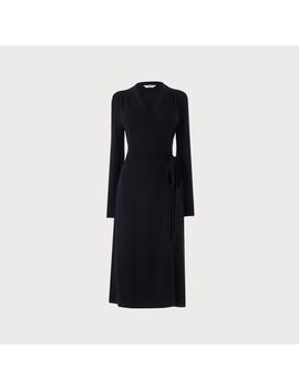 Juliette Navy Merino Wool Wrap Dress by L.K.Bennett
