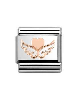Rose Gold Angel Heart Charm by Nomination