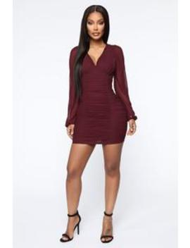 Always Innocent Ruched Mini Dress   Burgundy by Fashion Nova