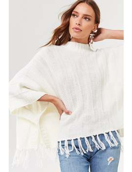 Purl Knit Fringe Trim Poncho by Forever 21