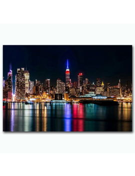 143464 York City Night Reflection Wall Poster Print Plakat by Ebay Seller
