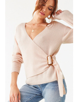 Brushed Surplice Buckle Sweater by Forever 21