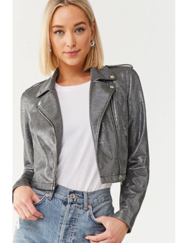 Metallic Zip Up Moto Jacket by Forever 21