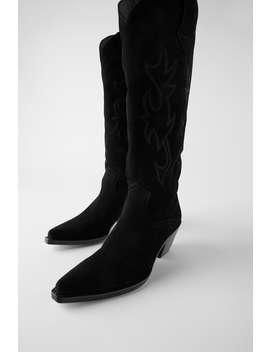 Split Suede Cowboy Heel Boots by Zara