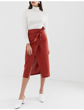 Asos Design – Tall – Leinen Wickelrock In Säulenform by Asos