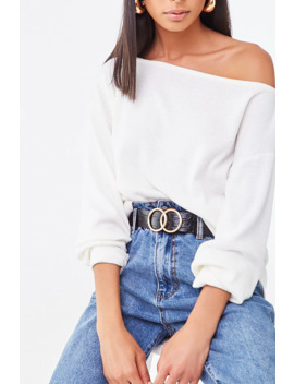 Boat Neck Ribbed Top by Forever 21