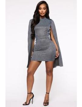 All I Live For Metallic Mini Dress   Blue by Fashion Nova