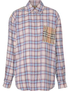 Vintage Check Panel Check Voile Shirt by Burberry