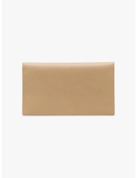 Beige Uptown Leather Pouch by Saint Laurent