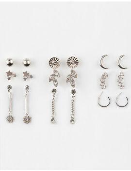 Full Tilt 9 Pairs Mini Hoop/Rhinestone Earrings by Full Tilt