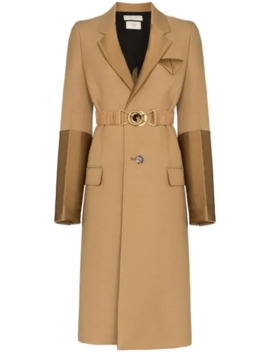 Contrast Panel Single Breasted Coat by Bottega Veneta