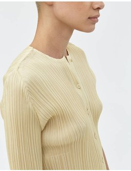 Monthly Colors Cardigan In Cream by Pleats Please By Issey Miyake Pleats Please By Issey Miyake