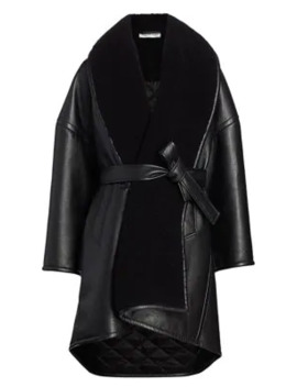 Faux Leather & Faux Shearling Wrap Coat by Balenciaga
