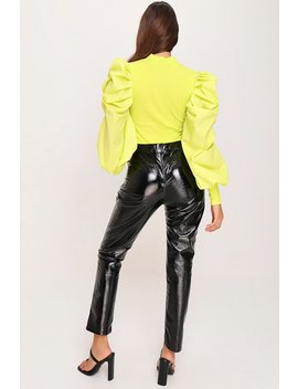 Lime Green Extreme Puff Sleeve Ribbed Top by I Saw It First