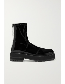 Two Tone Glossed Neoprene Platform Ankle Boots by Fendi