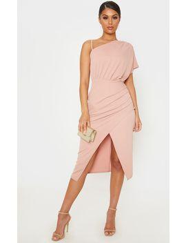 Dusty Pink Drape Detail One Shoulder Midi Dress by Prettylittlething