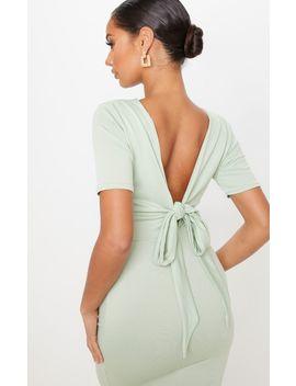 Sage Khaki Tie Back Short Sleeve Midi Dress by Prettylittlething